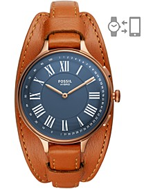 Women's Eleanor Luggage Leather Strap Hybrid Smart Watch 36mm