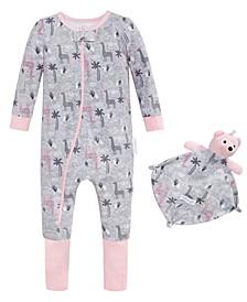 Baby Girls 2-Pc. Printed Pajama & Blankie Baby Set