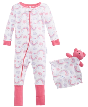 Max & Olivia Baby Girls 2-Pc. Printed Pajama & Blankie Baby Set