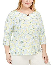 Plus Size Floral-Print Scoop-Neck Top