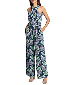 Cross-Neck Printed Jumpsuit