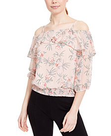 BCX Juniors' Off-The-Shoulder Floral Top
