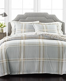 Percale Gray Plaid Reversible 3-Piece Full/Queen Comforter Set, Created for Macy's