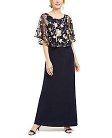Connected Embroidered Overlay Gown