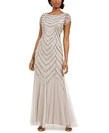 Embellished Godet-Inset Gown