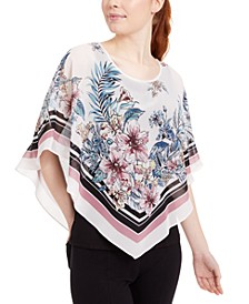 Juniors' Scarf-Print Popover Top