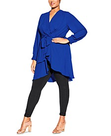 Trendy Plus Size Shibara Surplice Wrap Top