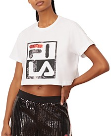 Ava Cotton Sequin Cropped T-Shirt