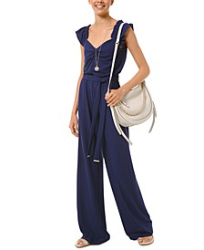 Flounce-Trim Tie-Waist Jumpsuit, Available in Regular and Petites
