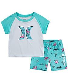 Baby Boys 2-Pc. UPF 50+ Colorblocked Logo T-Shirt & Swim Trunks Set