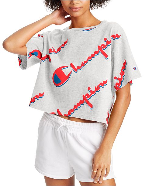 Champion Women's Cotton Logo-Print Cropped T-Shirt
