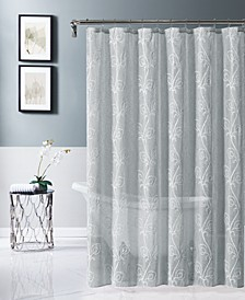 "Stella 70"" x 72"" Chenille Embroidederd Shower Curtain"