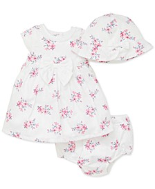 Baby Girls 3-Pc. Cotton Floral-Print Hat, Dress & Diaper Cover Set