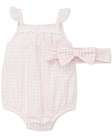 Baby Girls 2-Pc. Cotton Gingham-Print Headband & Bubble Romper