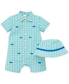Baby Boys 2-Pc. Cotton Plaid Hat & Whale Romper