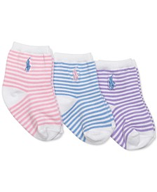 Baby Girls 3-Pk. Striped Crew Socks