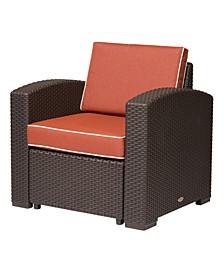 Magnolia Rattan Club Chair, White with a Blue Cushion