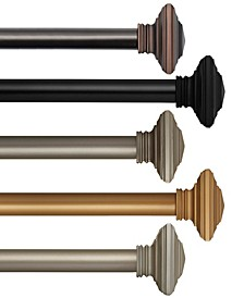 Florence Single Curtain Rods with Stacked Square Finials