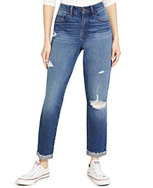 Juniors' Ripped High-Rise Cuffed Mom Jeans