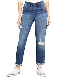 Rewash Juniors' Ripped High-Rise Cuffed Mom Jeans