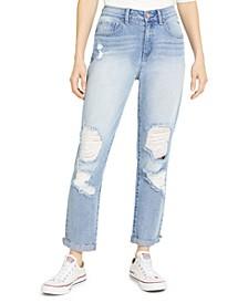 Juniors' Ripped High-Rise Cuffed Mom Jeans