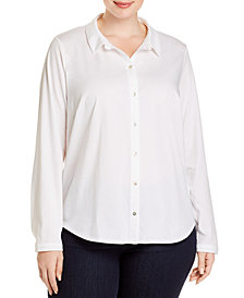 Eileen Fisher SYSTEM Plus Size Organic Cotton Classic Shirt