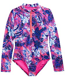 Big Girls 1-Pc. Long-Sleeve Printed Swimsuit