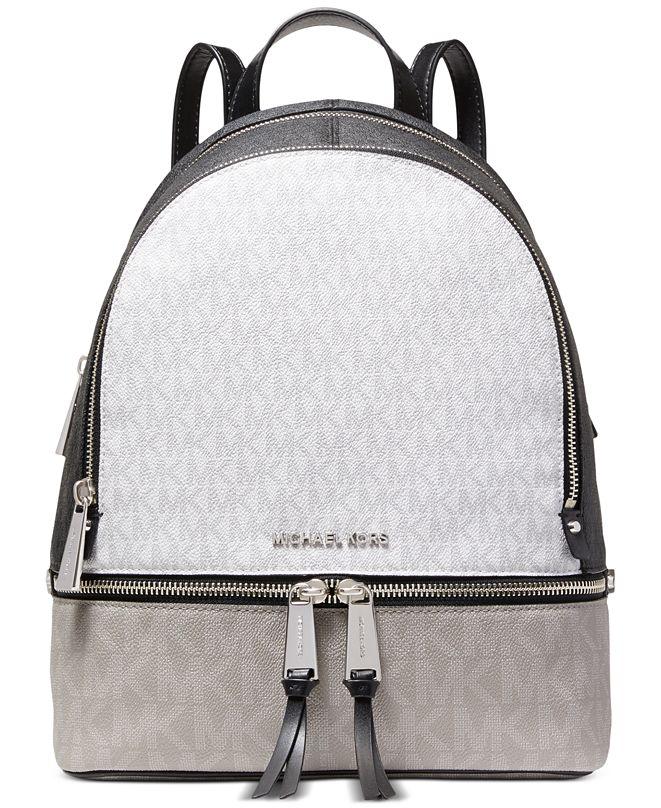 Michael Kors Signature Rhea Zip Small Leather Backpack