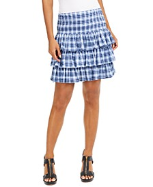 Petite Tiered Plaid Skirt