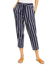 Juniors' Striped Cropped Soft Pants
