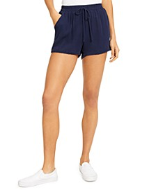 Juniors' Solid Pom Pom Shorts