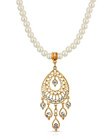 Gold Tone Crystal Filigree Drop Imitation Pearl Necklace
