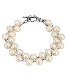 Silver-Tone Imitation Pearl Toggle Bracelet