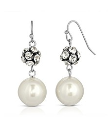 Silver-Tone Imitation Pearl and Crystal Fireball Drop Earrings