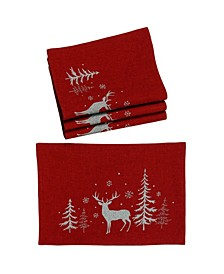 Deer In Snowing Forest Double Layer Christmas Placemats - Set of 4