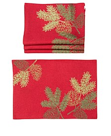 Christmas Pine Tree Branches Embroidered Double Layer Placemats - Set of 4