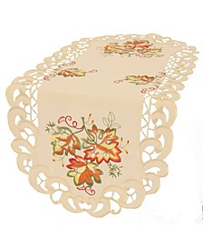 """Thankful Leaf Embroidered Cutwork Fall Table Runner 34""""x16"""""""