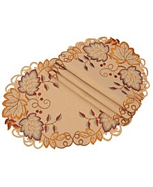 Harvest Verdure Embroidered Cutwork Fall Placemats - Set of 4