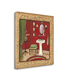 Red Bathroom Sink by Kim Lewis Giclee Print on Gallery Wrap Canvas