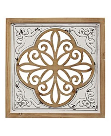 Stratton Home Decor Wood and Metal Square Wall Decor