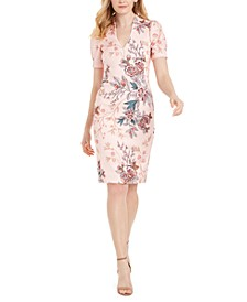 V-Neck Floral-Print Scuba Sheath Dress