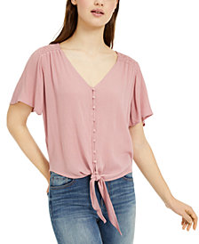 Ultra Flirt Juniors' Button-Front Tie-Waist Blouse