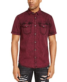 INC Men's Overdye Denim Short Sleeve Shirt, Created for Macy's