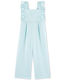 Little & Big Girls Blue Flutter Stripe Jumpsuit