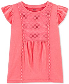 Little & Big Girls Coral Crocheted Eyelet Top