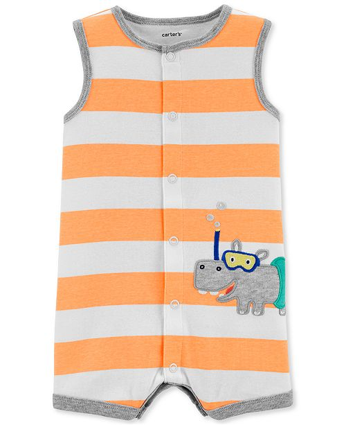 Carter's Baby Boys Striped Hippo Cotton Romper