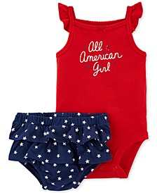 Baby Girls 2-Pc. Red, White & Blue Cotton Bodysuit & Ruffled Shorts Set
