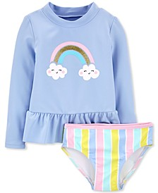 Baby Girls 2-Pc. Rainbow Rash Guard Set
