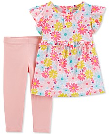 Baby Girls 2-Pc. Floral-Print Tunic & Leggings Set