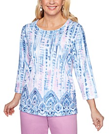 Petal Pushers Tie-Dyed Embellished Knit Top